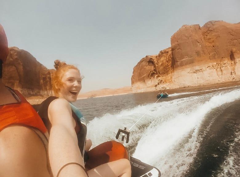 tubing off a jet ski